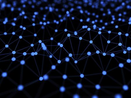 Abstrakt Neural Network auf schwarzem Hintergrund isoliert 3D-Illustration Konzept Hintergrund Standard-Bild - 60745379