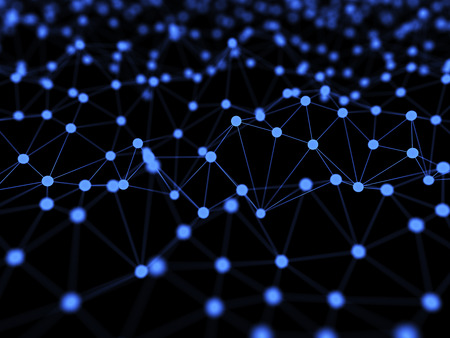 Abstract Neural Network Isolated on Black Background 3d Illustration Concept Background