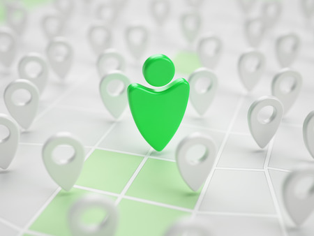 geotag: Man stylized green geotag marker on map in abstract mobile application 3d illustration