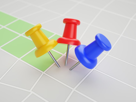 three objects: Three pins in the same point on map 3d illustration concept Stock Photo
