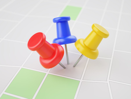 Three pins in the same point on map 3d illustration concept Stock Photo