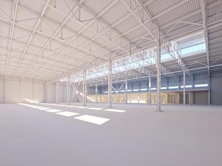 empty warehouse: Contemporary empty white warehouse illuminated by sunlight interior 3d illustration background