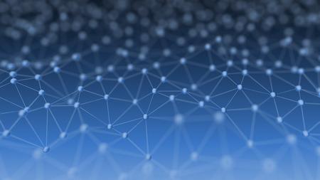 青におけるニューラル ネットワークを抽象的な背景の 3 d 図の概念の背景 写真素材
