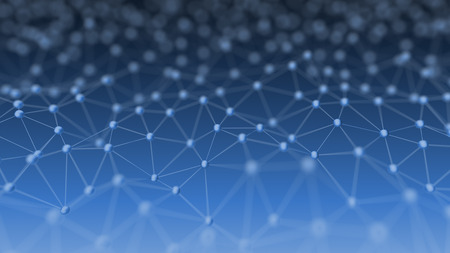 Estratto di rete neurale su sfondo blu illustrazione 3D Concept sfondo Archivio Fotografico - 60981200