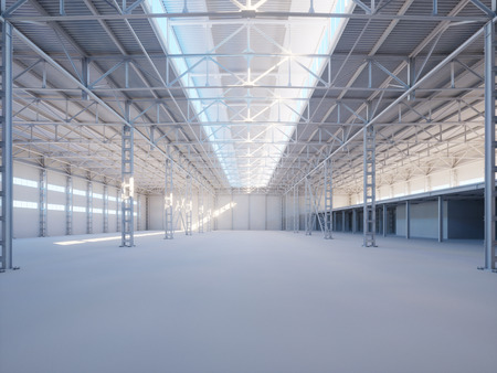 industrial construction: Contemporary industrial building interior illuminated by sunlight 3d illustration background