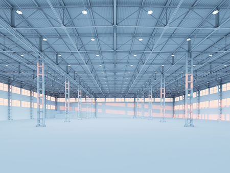 warehouse interior: Contemporary empty white illuminated warehouse interior 3d illustration background