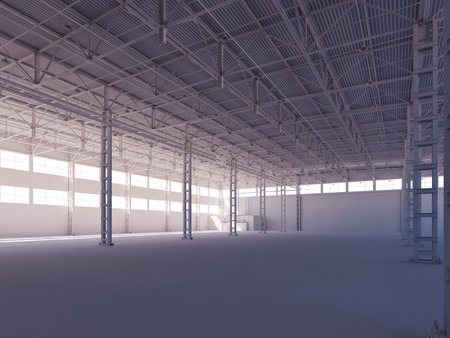 warehouse interior: Contemporary empty white warehouse illuminated by sunlight interior 3d illustration background