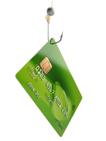 Fishing bank credit card fraud concept 3d illustration isolated on white
