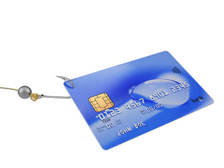 breaking the code: Fishing bank credit card fraud concept 3d illustration isolated on white