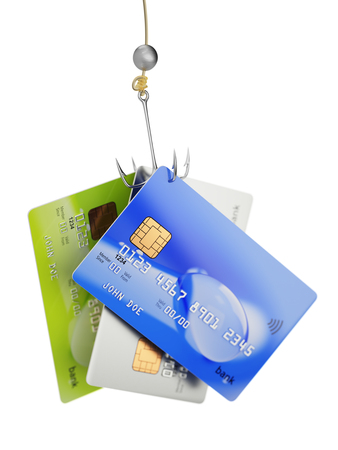 Three credit cards on fishing hook 3d illustration fraud concept isolated on white