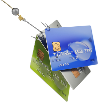 Three bank credit cards on quadruple fishing hook fraud concept 3d illustration isolated on white background