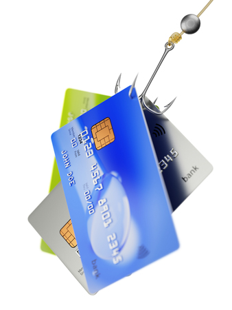 pin code: Three bank credit cards on quadruple fishing hook fraud concept 3d illustration isolated on white background