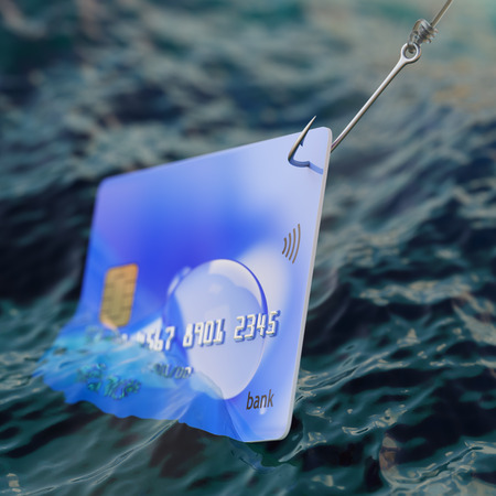 Credit card on fishing hook inside of water 3d illustration fraud concept