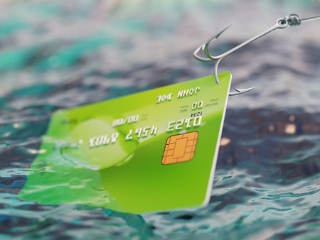 breaking the code: Fishing bank credit card fraud concept 3d illustration Stock Photo
