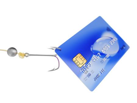 fishing hook: Credit card on fishing hook 3d illustration fraud concept Stock Photo