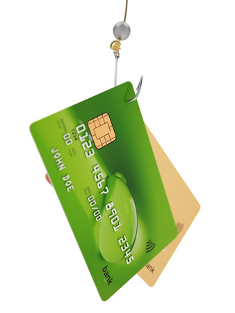 fishing hook: Two credit cards on fishing hook 3d illustration fraud concept isolated on white