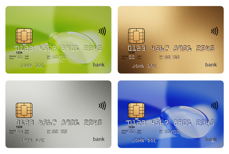 four objects: Four different wireless credit cards 3d illustration isolated on white mockup