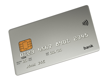 platinum: Platinum wireless credit card 3d illustration isolated on white in perspective view mockup Stock Photo