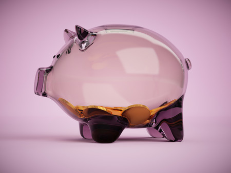 Transparent glass piggy bank with handful of coins concept 3d illustration on pink background