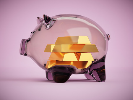 Clear glass piggy bank with gold bars inside savings concept 3d illustration on pink background