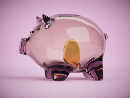 Transparent glass piggy bank with golden coin inside concept 3d illustration on pink background