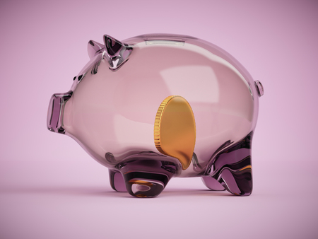 Transparent glass piggy bank with golden coin inside concept 3d illustration on pink background