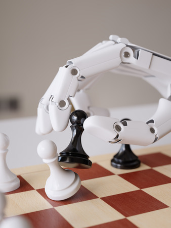 Artificial Intelligence Playing Chess Closeup 3d Illustration Concept Imagens