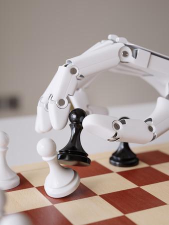 Artificial Intelligence Playing Chess Closeup 3d Illustration Concept Фото со стока