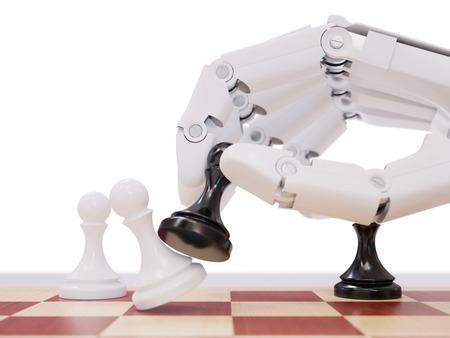 artificial intelligence: Artificial Intelligence Playing Chess Closeup 3d Illustration Concept Stock Photo