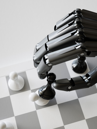 Artificial Intelligence Playing Chess Closeup 3d Illustration Concept Stock Photo