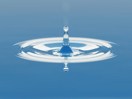 oscillation: Water drop splash closeup 3d illustration