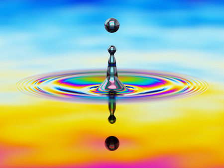 splashing: Splashing of liquid with colorful oil film over it 3d illustration concept Stock Photo