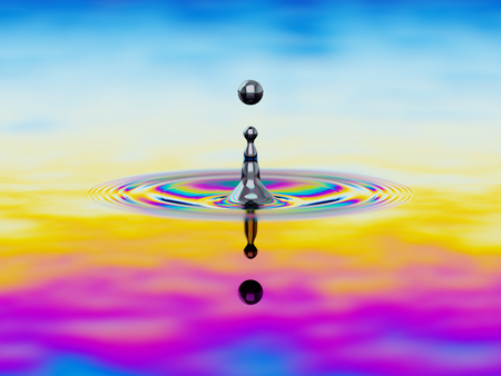 water ripple: Splashing of liquid with colorful oil film over it 3d illustration concept Stock Photo