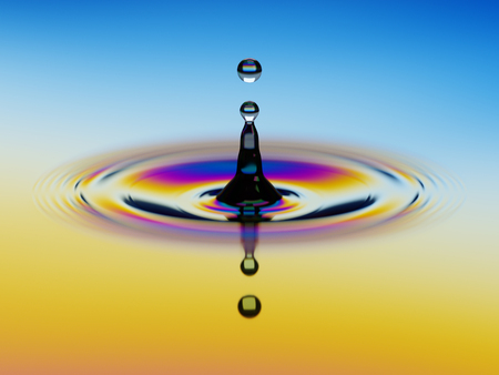 Splashing of water with colorful oil film over it 3d illustration Stock Photo