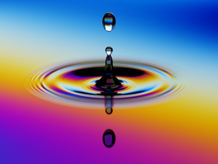 oscillation: Splashing of water with colorful oil film over it 3d illustration Stock Photo