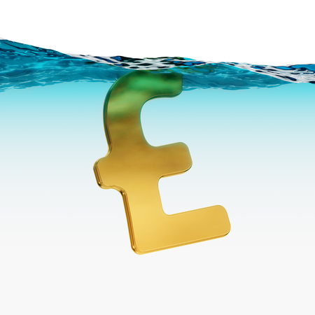 British Pound Sterling Split Level Sinking 3d Illustration Concept Stock Photo