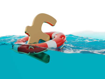 British Pound Sterling Inside of Lifebuoy on Water Surface 3d Illustration Concept