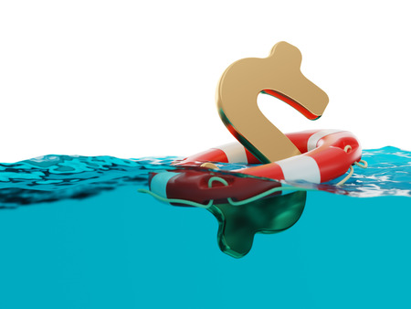 afloat: US Dollar Sign Inside of Lifebuoy in Open Water 3d Illustration Concept