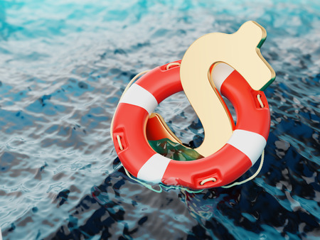 instability: US Dollar Sign Inside of Lifebuoy in Open Water 3d Illustration Concept