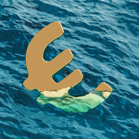 European Currency Euro Symbol Going Under 3d Illustration Concept Stock Photo