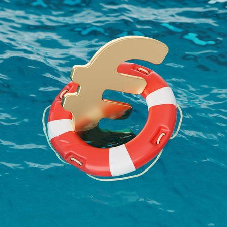 instability: Euro Symbol Inside of Lifebuoy in the Ocean 3d Illustration Concept Stock Photo