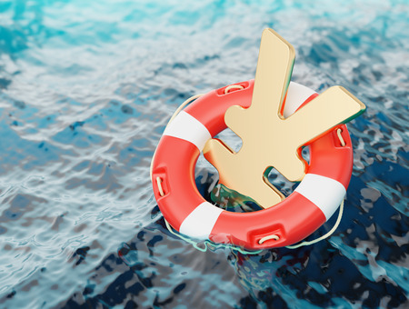 Yen Symbol Inside of Lifebuoy Japanese Economy Incentives Concept 3d Illustration Stock Photo