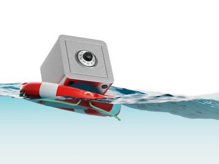 Safe Inside of Lifebuoy Split Level Savings Rescue Concept 3d Illustration Stock Photo