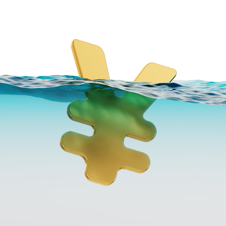 moving down: JPY Yen Symbol Split Level Sinking Japanese Economy Concept 3d Illustration Stock Photo