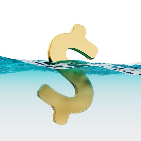US Dollar Sign Split Level Open Water 3d Illustration Concept