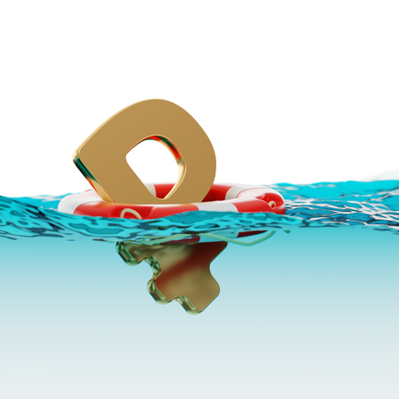 split level: Russian Rouble Symbol Inside of Lifebuoy on Water Surface Split Level Economic Incentives 3d Illustration Concept Stock Photo