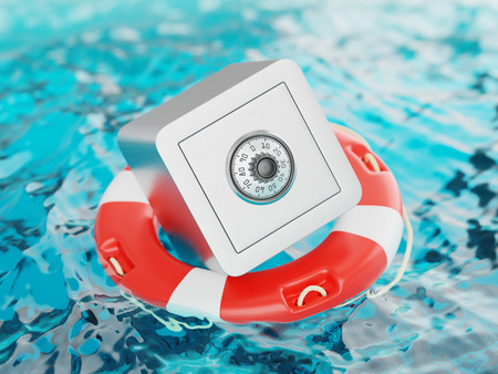 fluctuation: Safe Inside of Lifebuoy Savings Rescue Concept 3d Illustration