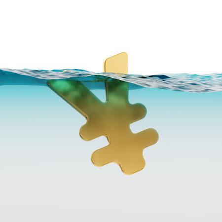 JPY Yen Symbol Split Level Sinking Japanese Economy Concept 3d Illustration Stock Photo
