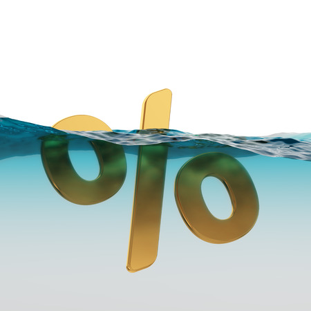 Percent Symbol Split Level Sinking or Wavering 3d Illustration Concept