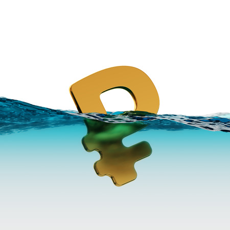 instability: Russian Rouble Symbol on Water Surface Split Level Economic Instability 3d Illustration Concept